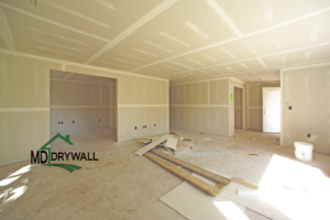 Drywall And Taping Stage in New Home Construction