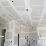 Beautiful taped drywall butts on vaulted ceiling