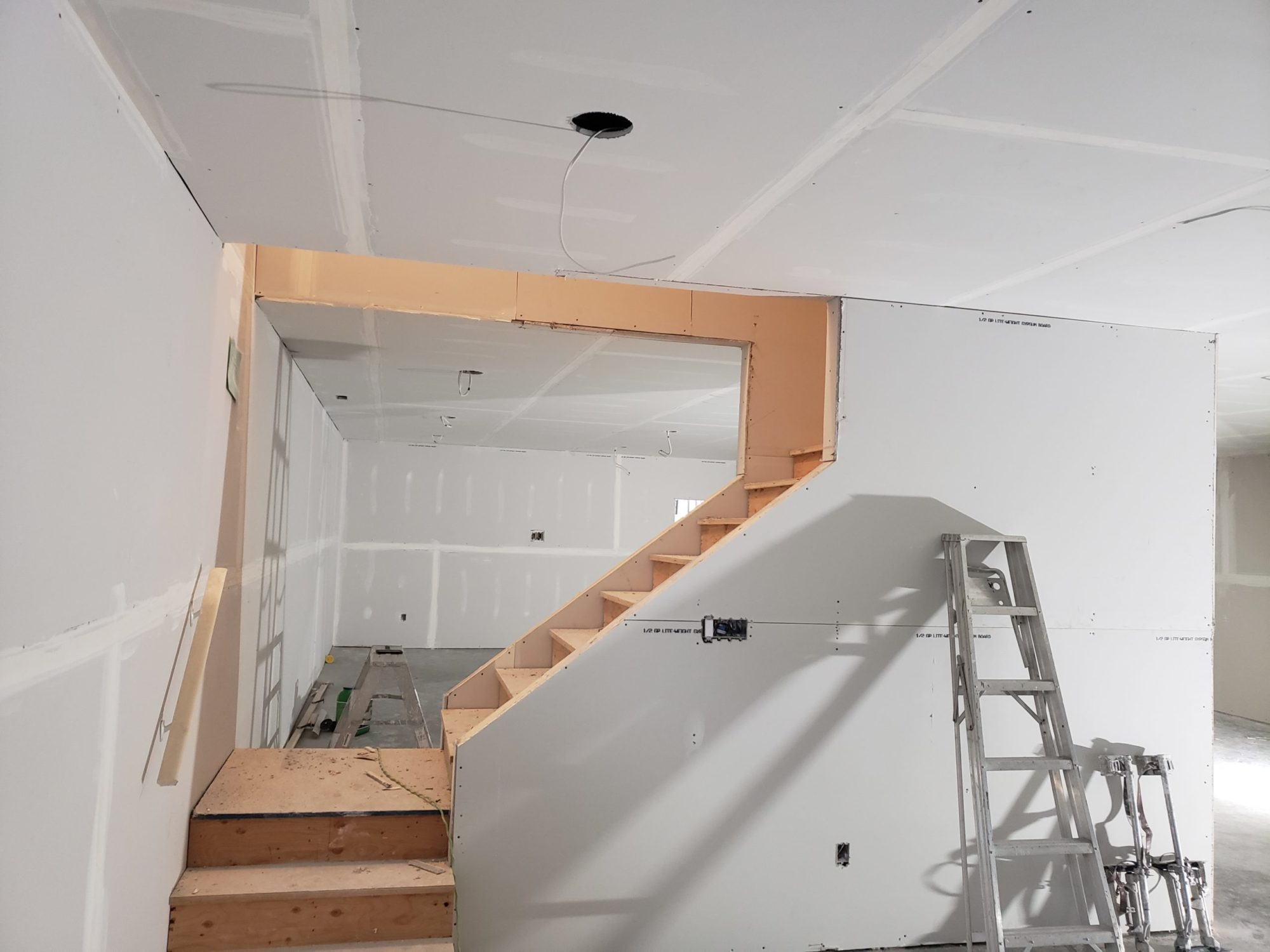basement stairwell drywall cutout